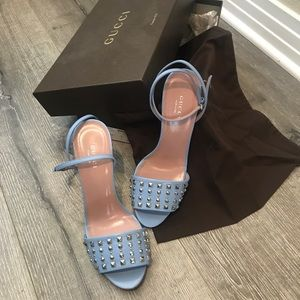 NWT Gucci babyblue studded sandal heels lace shoes